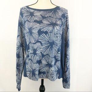 J. Crew Blue Floral Scoop Neck Sweater Medium